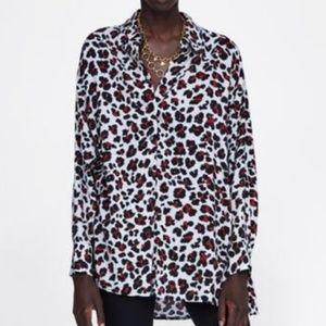 ZARA Grey & Red Leopard Print Button Down Blouse